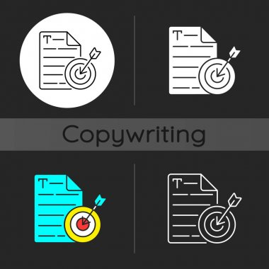 Aiming at target audience dark theme icon. Online marketing. Copywriting services. SEO work. Writing commercial text. Linear white, simple glyph and RGB color styles. Isolated vector illustrations icon