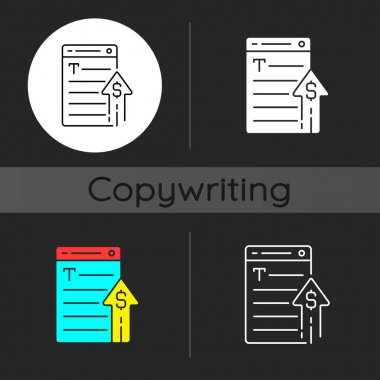 Generating income dark theme icon. Revenue from copywriting services. Freelance work cost. Price of writing text. Linear white, simple glyph and RGB color styles. Isolated vector illustrations icon