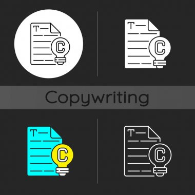 Original content dark theme icon. Engaging text for e commerce. Copywriting services. Freelance, SEO work. Linear white, simple glyph and RGB color styles. Isolated vector illustrations icon