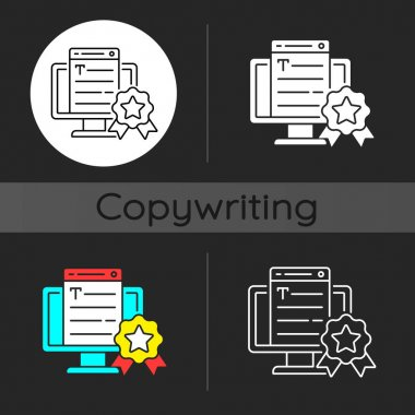 Professionalism dark theme icon. Online platform. Quality copywriting services. Freelance business, SEO work. Linear white, simple glyph and RGB color styles. Isolated vector illustrations icon