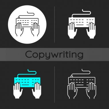 Keyboard dark theme icon. Professional freelance worker. Copywriter work. Author job. Hands typing on desktop. Linear white, simple glyph and RGB color styles. Isolated vector illustrations icon