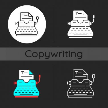Typewriter dark theme icon. Copywriting services. Professional journalism. Printing sheets. Writing commercial text. Linear white, simple glyph and RGB color styles. Isolated vector illustrations icon