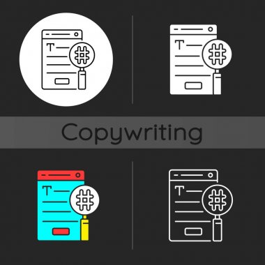 SEO copywriting dark theme icon. Search engine optimization service. Commercial text with hashtags. Website analysis. Linear white, simple glyph and RGB color styles. Isolated vector illustrations icon