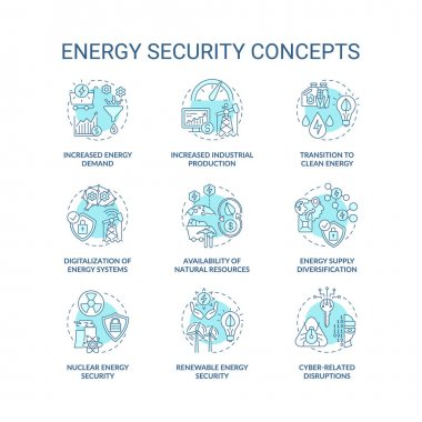 Energy security concept icons set. Access energy resources idea thin line RGB color illustrations. System digitalization. Supply diversification. Vector isolated outline drawings. Editable stroke icon