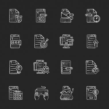 Copywriting chalk white icons set on black background. Aiming at target audience. Freelance business. Writing commercial text. Website engaging content. Isolated vector chalkboard illustrations icon