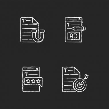 Engaging online content chalk white icons set on black background. Writing ads for online marketing. Recognized by clients. Aiming at target audience. Isolated vector chalkboard illustrations icon