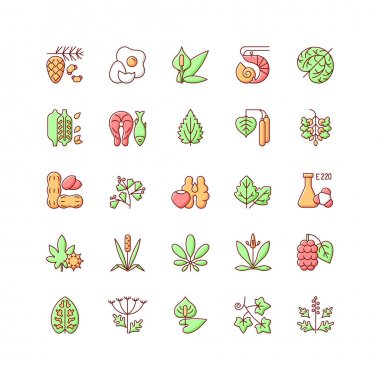 Allergy cause RGB color icons set. Queen Anne lace. Timothy grass. Poplar tree pollen. English plantain. Sesame seeds. English ivy. Egg, tree nuts as allergens. Isolated vector illustrations icon