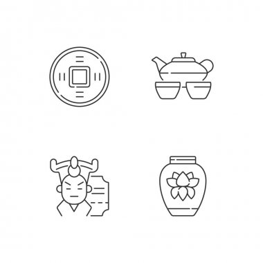 Asia linear icons set. Ancient Chinese coin. Tea set for ceremony. Traditional porcelain and ceramics. Customizable thin line contour symbols. Isolated vector outline illustrations. Editable stroke icon