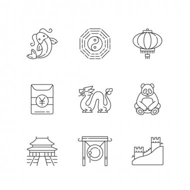 Oriental culture linear icons set. Koi fish. Bagua, hong bao. Loong dragon. Lunar New Year traditions. Customizable thin line contour symbols. Isolated vector outline illustrations. Editable stroke icon