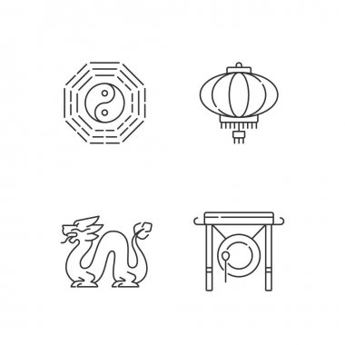 Lunar New Year attributes linear icons set. Bagua, feng shui. Paper lantern. Loong dragon. Chinese gong. Customizable thin line contour symbols. Isolated vector outline illustrations. Editable stroke icon