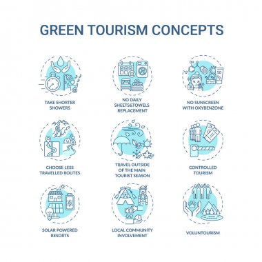 Green tourism concept icons set. Reduce water consumption. No daily sheets and towels replacement idea thin line RGB color illustrations. Vector isolated outline drawings. Editable stroke icon