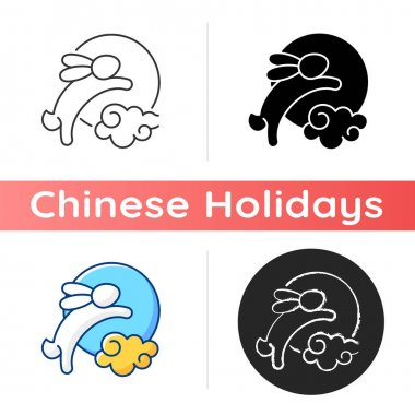 Rabbits and moon icon. Moon hare. Immortal jade rabbit. Mid-autumn festival. Mythical figure. Chinese, zodiac folklore. Linear black and RGB color styles. Isolated vector illustrations icon