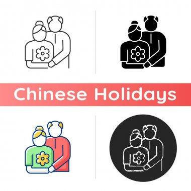 Old couple icon. Honor senior citizens day. Double ninth festival. Visit elderly relatives. Organizing outings for retirees. Linear black and RGB color styles. Isolated vector illustrations icon