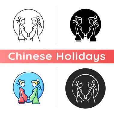 Double seventh festival icon. Chinese valentine day. Eastern equivalent. Romantic legend. Annual cowherd and weaver meeting. Linear black and RGB color styles. Isolated vector illustrations icon