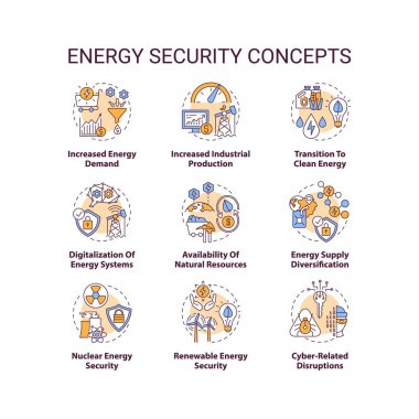 Energy security concept icons set. Access energy resources idea thin line RGB color illustrations. Increased demand. Industrial production. Vector isolated outline drawings. Editable stroke icon