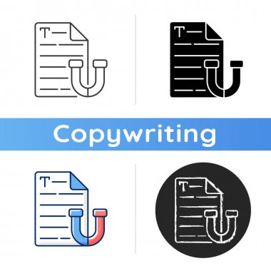 Appealing text icon. Brief letter. Online email. Engaging content for social media. SEO report. Writing commercial text. Linear black and RGB color styles. Isolated vector illustrations icon