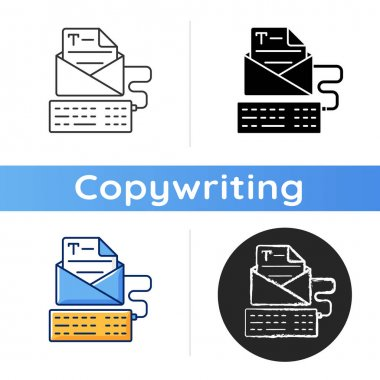 Newsletter copywriting icon. Copywriting services. Typewriting, typing with keyboard. Writing commercial text. Report publication. Linear black and RGB color styles. Isolated vector illustrations icon