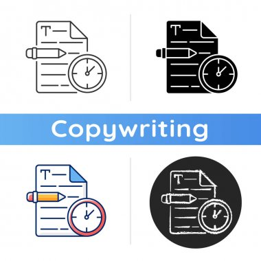 Urgent copywriting icon. Fast copywriting services. Time management on project. Professional journalist. Writing commercial text. Linear black and RGB color styles. Isolated vector illustrations icon