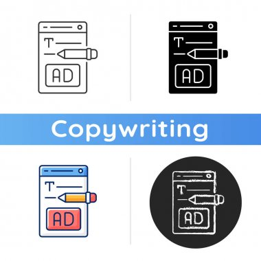 Writing text ads icon. Copywriting services for e commerce. Engaging content for online marketing. Writing commercial text. Linear black and RGB color styles. Isolated vector illustrations icon