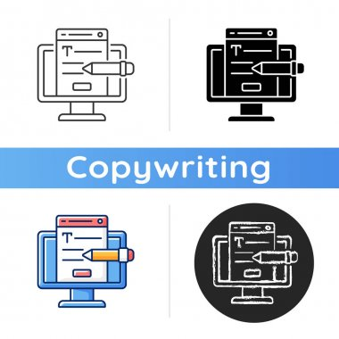 Website content icon. Online platform. Copywriting services. Search optimization. Writing commercial text for website. Linear black and RGB color styles. Isolated vector illustrations icon
