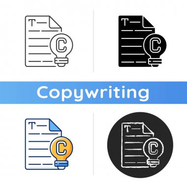 Original content icon. Engaging text for e commerce. Copywriting services. Professional report. Writing marketing article. Linear black and RGB color styles. Isolated vector illustrations icon