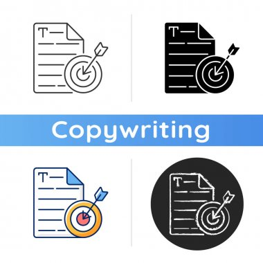 Aiming at target audience icon. Online marketing. Engaging content for focus customers. Copywriting services. Writing commercial text. Linear black and RGB color styles. Isolated vector illustrations icon