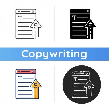 Generating income icon. Revenue from copywriting services. Freelance work cost, earn money. Professional journalist salary growth. Linear black and RGB color styles. Isolated vector illustrations icon
