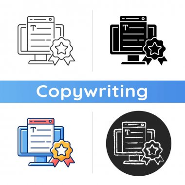Professionalism icon. Online platform. Quality copywriting services. Freelance business, SEO work. Writing commercial text. Linear black and RGB color styles. Isolated vector illustrations icon