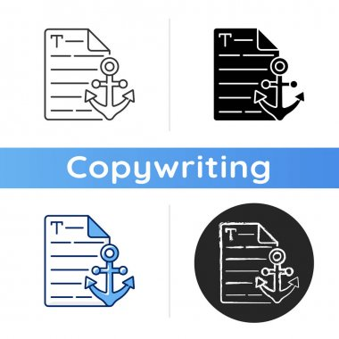 Anchor text icon. Webpage with link. Document with hyperlink. Copywriting services. Freelance, SEO work. Commercial article. Linear black and RGB color styles. Isolated vector illustrations icon