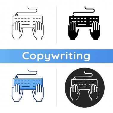 Keyboard icon. Professional freelance worker. Copywriter work. Enter information with keypad. Journalist service. Author job. Linear black and RGB color styles. Isolated vector illustrations icon