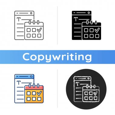Meeting deadlines icon. Time management. Task marked on calendar. Copywriting services. Freelance, SEO work. Professional journalist. Linear black and RGB color styles. Isolated vector illustrations icon