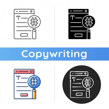 SEO copywriting icon. Search engine optimization service. Commercial text with hashtags, keywords for online marketing. Linear black and RGB color styles. Isolated vector illustrations icon
