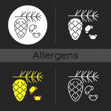 Cedar and pine tree pollen dark theme icon. Branch with needles, cypress stem. Common allergen. Allergy for plant. Linear white, simple glyph and RGB color styles. Isolated vector illustrations icon
