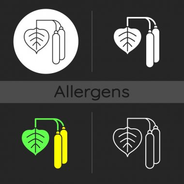 Birch pollen dark theme icon. Tree leaf, botanical earing. Cause of allergic reaction. Common allergen. Allergy for plant. Linear white, simple glyph and RGB color style. Isolated vector illustrations icon