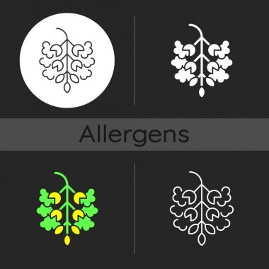 Poplar tree pollen dark theme icon. Cottonwood plant. Cause of allergic reaction. Seasonal allergen. Allergy for plant. Linear white, simple glyph and RGB color styles. Isolated vector illustrations icon