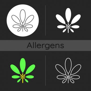 Schefflera dark theme icon. Flowering plant. Tropical leaf. Umbrella tree. Cause of allergic reaction. Seasonal foliage. Linear white, simple glyph and RGB color styles. Isolated vector illustrations icon