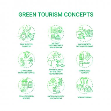 Green tourism concept icons set. Reduce water consumption. Discovering eco tourism advantages. Natural environment idea thin line RGB color illustrations. Vector isolated outline drawings icon