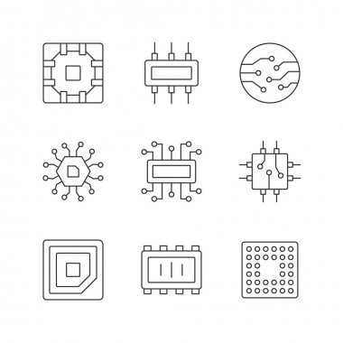 Microcircuits linear icons set. Computer device circuit boards design creation. Modern microchips. Customizable thin line contour symbols. Isolated vector outline illustrations. Editable stroke icon