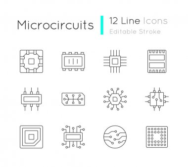 Microcircuits linear icons set. Designing modern microcomponents for device creation. Customizable thin line contour symbols. Isolated vector outline illustrations. Editable stroke icon