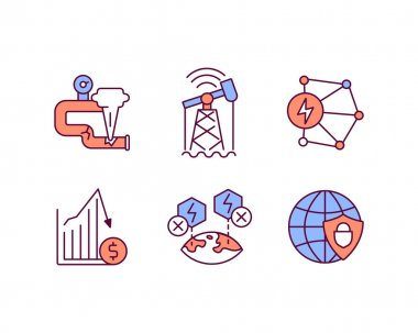 Energy industry RGB color icons set. Digital transformation. Gas leakage. Economic slowdown. Network security. Non-renewable power. Electricity transmission. Isolated vector illustrations icon