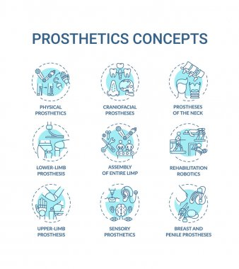 Prosthetics concept icons set. Upper and lower-limb prosthesis idea thin line RGB color illustrations. Physical, sensory, craniofacial prosthetics. Vector isolated outline drawings. Editable stroke icon