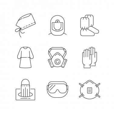 Medical disposable covers linear icons set. Surgical cap and helmet. Medical goggles. N95 mask. Customizable thin line contour symbols. Isolated vector outline illustrations. Editable stroke icon