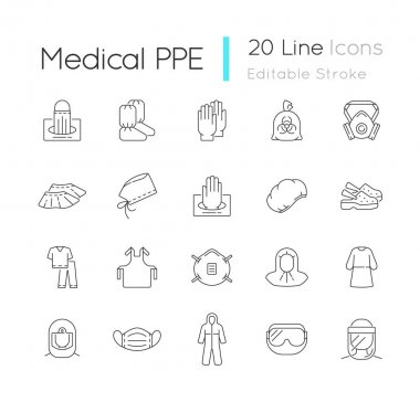 Medical PPE linear icons set. Surgical cap. Boot covers. Disposable gloves. Infectious waste bag. Customizable thin line contour symbols. Isolated vector outline illustrations. Editable stroke icon