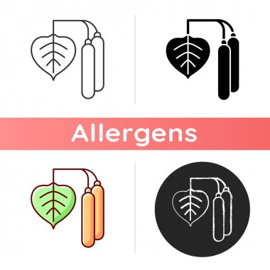 Birch pollen icon. Tree leaf, botanical earing. Cause of allergic reaction. Common seasonal allergen. Allergy for plant. Linear black and RGB color styles. Isolated vector illustrations icon