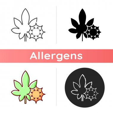 Castor bean icon. Exotic flowering plant. Ricinus communis. Cause of allergic reaction, herbal allergen. Allergy for plant. Linear black and RGB color styles. Isolated vector illustrations icon