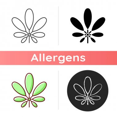 Schefflera icon. Flowering plant. Tropical leaf. Umbrella tree. Cause of allergic reaction. Exotic seasonal foliage. Linear black and RGB color styles. Isolated vector illustrations icon