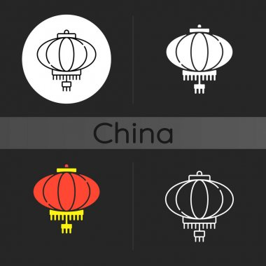 Chinese lantern dark theme icon. Traditional asian paper lantern. Lunar New Year celebration attribute. Oriental item. Linear white, simple glyph and RGB color styles. Isolated vector illustrations icon