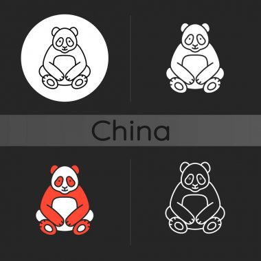 Big panda dark theme icon. Traditional chinese animal. Beijing zoo mascot. Endangered species protection. Bear sit. Linear white, simple glyph and RGB color styles. Isolated vector illustrations icon