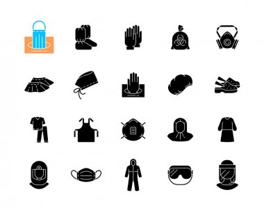 Medical PPE black glyph icons set on white space. Surgical cap. Boot covers. Disposable gloves. Scrubs suit. Isolation gown. Surgical face shield. Silhouette symbols. Vector isolated illustration icon