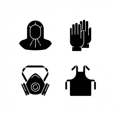 Protective medical equipment black glyph icons set on white space. Disposable gloves. Surgical apron. Medical hood. Doctor uniform. Quarantine safety. Silhouette symbols. Vector isolated illustration icon
